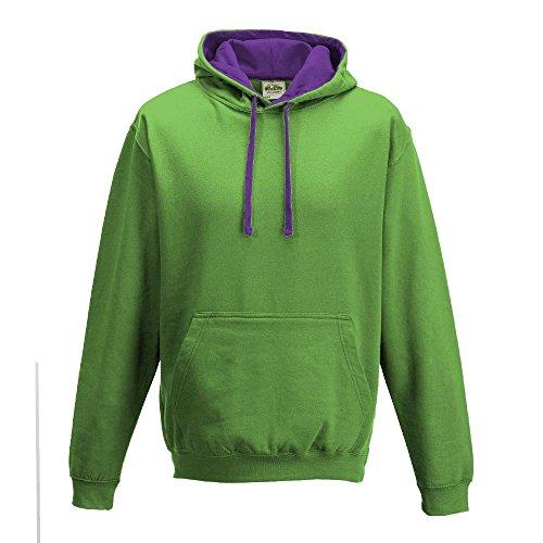 Just Hoods Varsity Sweat à capuche avec capuche couleur contrastée green - Lime Green/ Magenta Magic