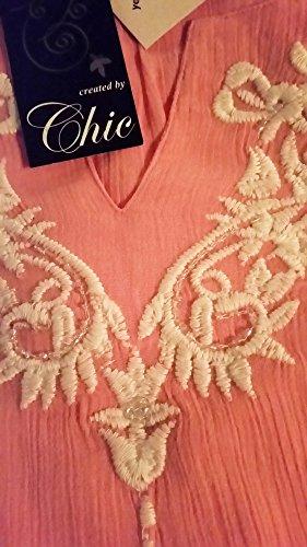 TopsandDresses Damen Tunika Lamarmshirt, Geblümt Rosa - rosa pink