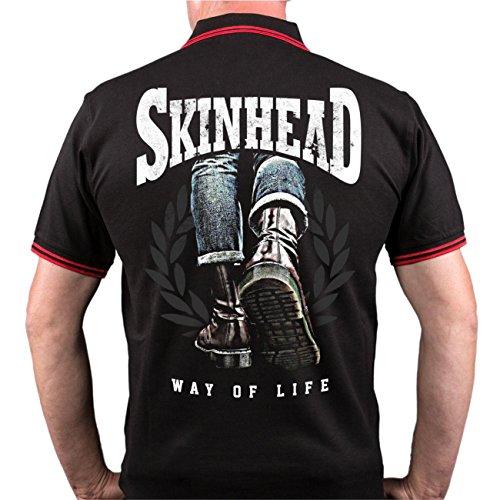 Männer und Herren POLO Shirt Skinhead - a way of life (mit Rückendruck) Schwarz/Rot