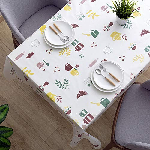 KDSANSO Kunststoff Tischdecke, Abwaschbar Tischtuch Dekorative Staubdichte Tafeldecke Wachstuch | Geeignet für Garten Esstisch, Couchtisch, quadratischer und runder Tisch, (Teekanne) 130 * 140cm