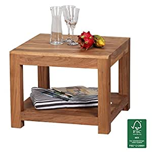Finebuy Coffee Table Solid Wood Acacia 60 X 60 Cm Living