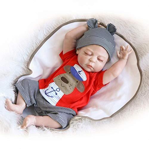 HRYEOY Muñecos Bebé Reborn Niño Realista Silicona Cuerpo Entero Completo 18 Inch 45cm Recién Nacido Juguetes Silicona Cuerpo Completo