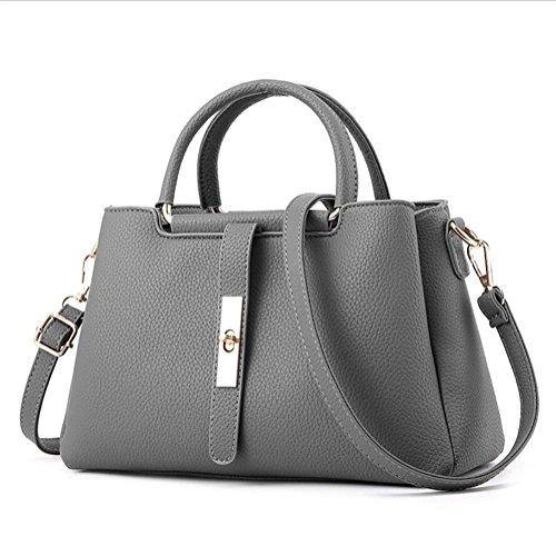 LDMB Damen-handtaschen Frauen PU-lederne bewegliche Schulter-Kurier-Handtasche Einfache wilde feste Farben-Einkaufstasche light gray