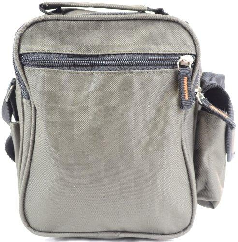 Handy in tela, multiuso Lorenz-Borsa a tracolla, borsa da viaggio, colore: nero/cachi, colore: verde Verde (Verde oliva)