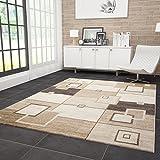 VIMODA Moderner Wohnzimmer Teppich Kariert Retro Design Strapazierfähig in Braun 120x170 cm