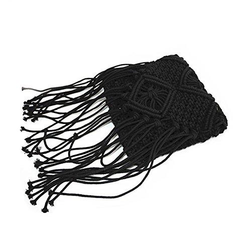 iYoung handgefertigte Messenger geflochtene Tasche, Stroh Quaste Sommer Strandtasche Totes Woven Schulter Tasche für Mädchen Frauen gefranst -