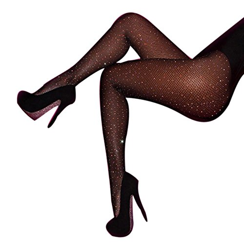Rosennie Damen Fischnetz Mesh Reizvolle Diamant Thigh-High Strümpfe Strumpfhose Pantyhose Tights Ultradünne Feinstrumpfhose Leggings Hollow Out (Schwarz, Einheitsgröße) (Fischnetz Diamant)