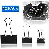 Broches de classeur noir utilitaire noir pour trois tailles différentes - 48 paquets