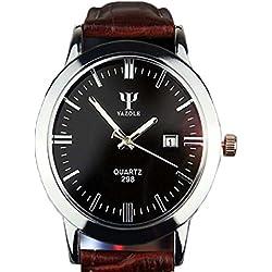 Vovotrade Men Leather Calendar Date Analog Quartz Waterproof Wrist Watch