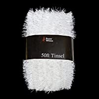 50 Foot Extra Long Tinsel Pack In White - Xmas Decorations