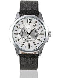 Correa de cuero reloj de cuarzo con cronógrafo para hombre Curren colour blanco y plata