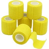 Yumai 6confezione 5cm x 4.5m self Adherent Cohesive Wrap bende flessibile stretch Athletic tape con fascia elasticizzata per Medical sport Pet supply–giallo