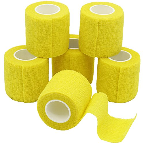 yumai 6unidades, 5cm x 4,5m AUTO adherente vendaje Wrap cinta elástico y flexible con fuerte elástico para deporte mascota suministros médicos–amarillo
