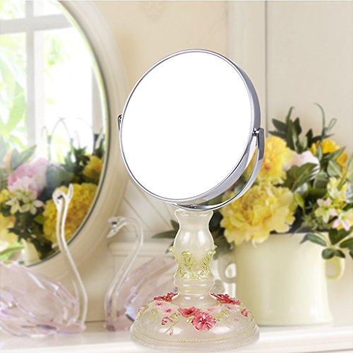 JILAN HOME Mirror- Beauty Vanity Spiegel Make-Up Desktop Dressing Spiegel Harz 6 Zoll High-Definition Doppelseitig Einstellbare Runde Tragbare Spiegel Fuß Stand mirror ( Farbe : Pearl white green leaves )