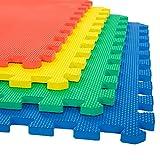 Stalwart 4 Pack Interlocking EVA Foam Floor Mats Multi color 24x24x0.50