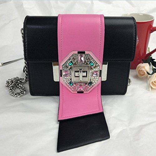 kampf farbe Stecker zunge Lock kleine quadratische Weibliche Schulter Gekreuzte Kette handtaschen Rose Mit Schwarzem