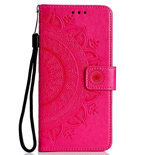 Thoankj Sony Xperia XZ1 Hülle Flip Stoßfest PU Leder Brieftasche Handyhülle Mandala mit Magnet Ständer Kartenhalter Ausweisfach Folio Weich Silikon Gel TPU Bumper Schutzhülle für Sony Xperia XZ1