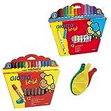 Lot de 2 boîtes Giotto Bébé: Maxi Crayons de Couleur Bois + Maxi Feutres + 3 Ballons Blumie