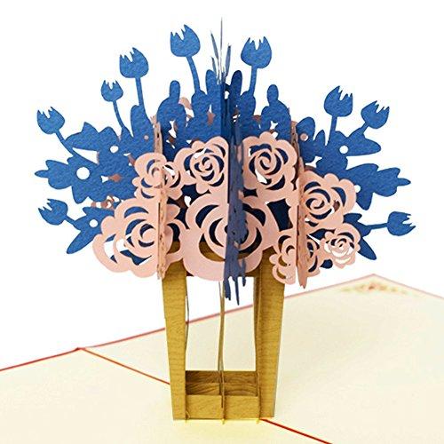 Flower Pop Up Karte, 3D Karte Grußkarte für alle Gelegenheiten von wishh, Geburtstag, Jahrestag, Vatertag, Schulabschluss, Danksagung, Thank You, Get Well Soon, 14,7x 14,7cm 14.7 x 14.7 cm blau