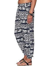 Damen Sommerhose | All-over-print Haremhose mit engem Bündchen | Schlabberhose aus 75% Baumwolle | Luftige Urlaubshose mit zwei Taschen | Leichte Sommer Hose | Weite Chillerhose in bunten Farben