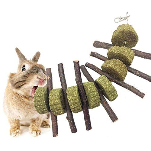 Bunny chew toy, honey piccoli animali domestici accessori, coniglio coniglietto criceto denti salute mela legno bastone erba fieno torta cuore giocattolo da masticare - colore legno
