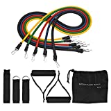 Homitt Exercise Bands Kit, 5 Pieces of Resistance Bands Kit for Rehabilitative Exercises, Indoor or Outdoor Use,Fitness Tubes with Foam Handles, Door Anchor, Ankle Straps, Workout Guide, Carrying Pouch for Building Muscle, Fat Loss