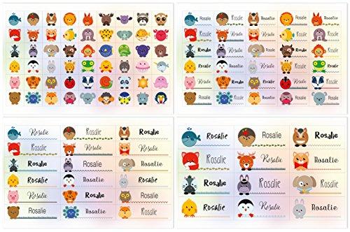 Kigima 114 Aufkleber Sticker Namens-Etiketten rechteckig Rosalie Verschiedene Größen und Tiermotive