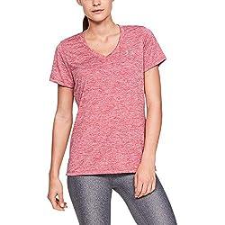 Under Armour Tech Ssv-Twist Camiseta, Mujer, Rosa (Impulse Pink/Metallic Silver 671), L