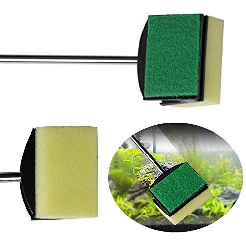 Kicode 2 Pack Glass Fish Tank Plant Algae Yellow Green Double Side Sponge Cleaning Brush Cleaner Tool Aquarium Brush -