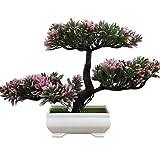 LWBAN -künstliche Bonsai Künstliche Bonsai-Baum Pflanzen Dekoration 2018 Kunstpflanze Grün Kunstblume Deko mit Weiß/Schwarz Töpfen, ca. 20 cm (5 Farben, hohe Qualität), pink