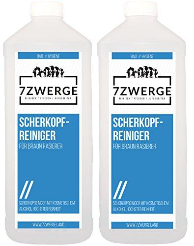 7Zwerge Scherkopfreiniger Reinigungsflüssigkeit für Braun Elektro Rasierer - Nachfüllflüssigkeit (2 x 1000 ml)