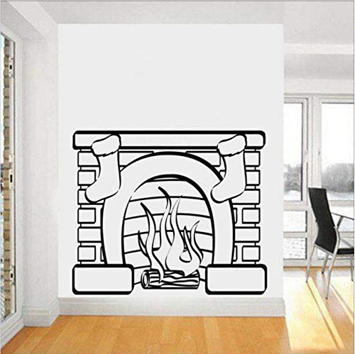 Pegatinas de pared, murales, Diysofa Wall Chimenea de Navidad Personalidad extraíble Sala...