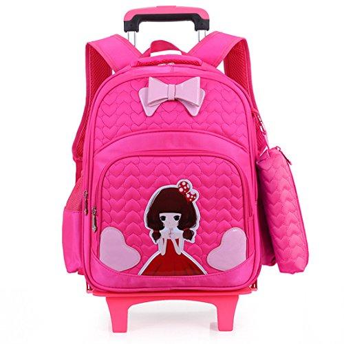 YYF Kinder Trolley Schultasche Rucksäcke Kinder Schulrucksack Schultrolley Schulranzen mit Abnehmbar 2 Rollen (Neue Mini Dot Rucksack)
