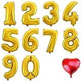 WeAreAwesome Folien-Ballon Luft-Ballon ZIFFER Zahl 1 Gold 60CM XL Aufpusten Geburtstag Hochzeit Party Feier