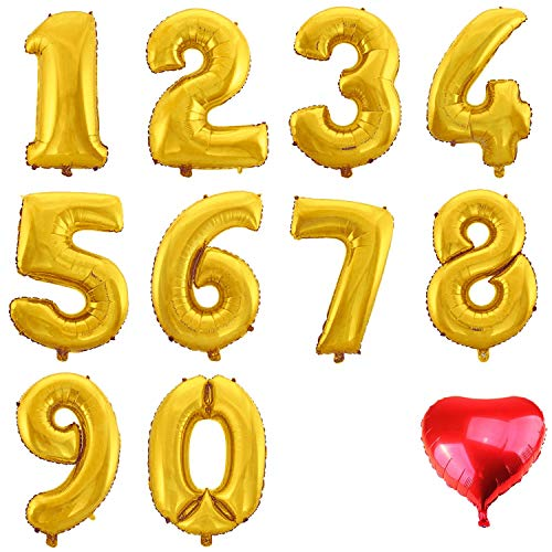 WeAreAwesome Folien-Ballon Luft-Ballon ZIFFER Zahl 8 Gold 60CM XL Aufpusten Geburtstag Hochzeit Party Feier (8 Ballon Folie)