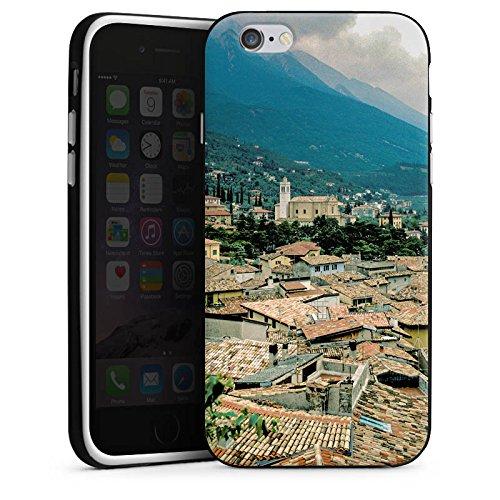 Apple iPhone X Silikon Hülle Case Schutzhülle Dächer Stadtpanorama Häuser Silikon Case schwarz / weiß