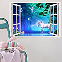 ufengke home White Unicorn in Mythical Forest Wall Art Stickers 3D Special Effect View Outside the Window Decorative Removable DIY Vinyl Wall Decals Living Room, Bedroom Mural