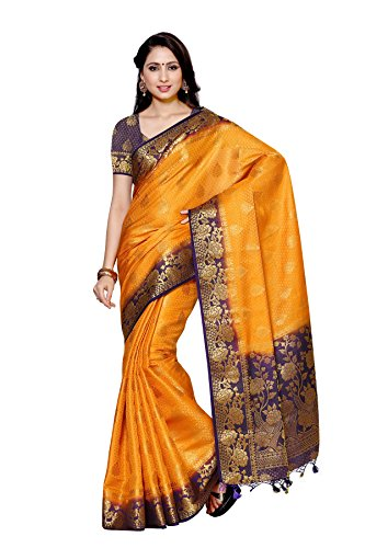 Mimosa By Kupinda Art Silk Saree Kanjivaram Style Color : Gold (4011-213-2D-GLD-NVY)