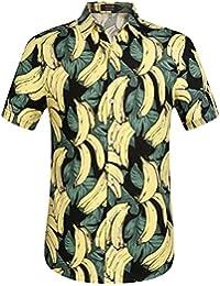 SSLR Chemise Casual Homme Manche Courte Style Hawaiien Coton Imprimé Banane