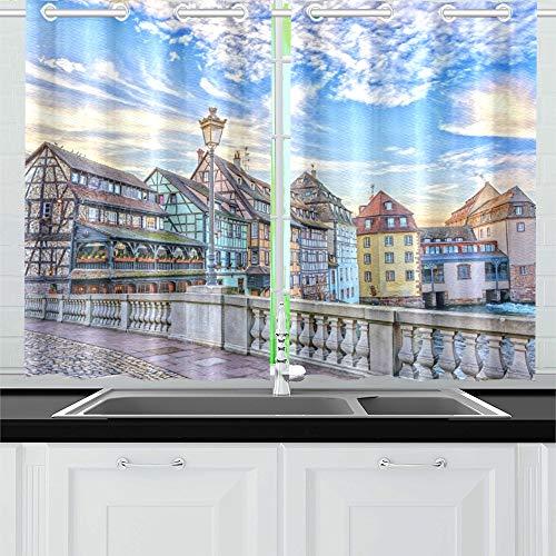 QIAOLII Traditionelle Fachwerkhäuser auf Kanälen District Kitchen Curtains Window Curtain Tiers für Café, Bad, Wäscherei, Wohnzimmer Schlafzimmer 26 X 39 Zoll 2 Stück -