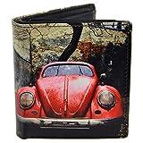 Herren Leder Tri-Fold Vintage rot VW Beetle Geldbörse von Retro Geschenk Box Classic