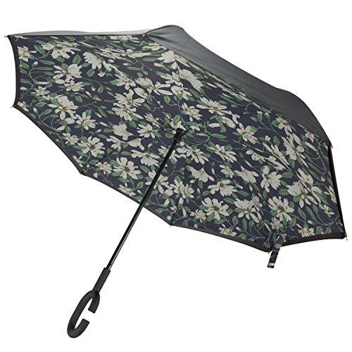 SIBOSUN Umgekehrtes Dach Reversible Doppel Schicht C-Form Griff Winddicht Auto UV-Schutz Blume (Hut Blumen-reversible)