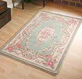 "Think Rugs Tapis en laine en Vert chinois fait main traditionnel Aubusson Design 60 x 120 cm ou 2 ""x4..."