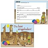 10 Einladungskarten Erdmännchen