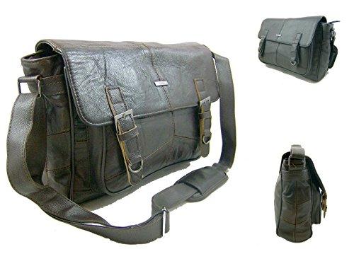Sacoche en cuir pour sac bandoulière Travail Besace en cuir Sac de voyage unisexe noir