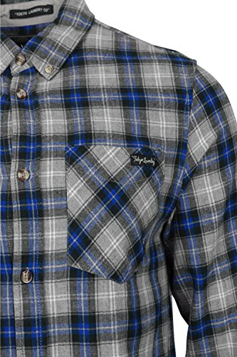Tokyo Laundry Herren Button-down Freizeit-Hemd, Kariert rot rot Small Ozeanblau