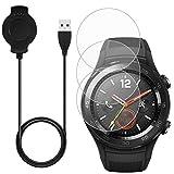 AFUNTA Cargador & -3 Pcs Protector de Pantalla para Huawei Smart Watch 2, Reemplazo Cargador Cable Base con Repuesto Vidrio Templado Antiarañazos Protectores