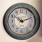 NAGHNJA WanduhrenEinfache Rosa Blau Stumme Wohnzimmer Wanduhr Retro Alte Wand Tisch Eisen Uhr