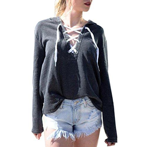 MRULIC Damen Hoodies Frauen Langarm Hoodie Sweatshirt Jumper mit Kapuze Pullover Stilvolle Kleidung Elegante Bluse (2XL, Schwarz)