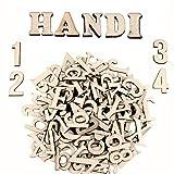 Lettere in Legno e Numeri in Legno (124 pezzi) - Set di Lettere Maiuscole (A-Z) Maiuscole e Minuscole (52 Ciascuna) con 20 Numeri in Legno (0-9) - Decorazioni per la Casa in Legno fai da te